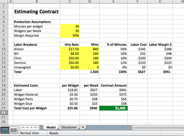How To Price Contracts Excel Models
